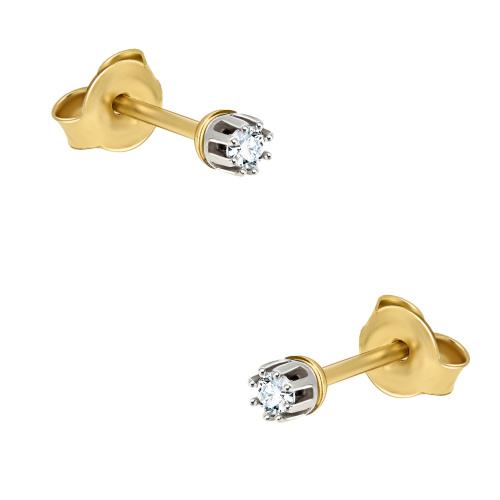 Złote kolczyki z diamentami 0,1ct pr.585