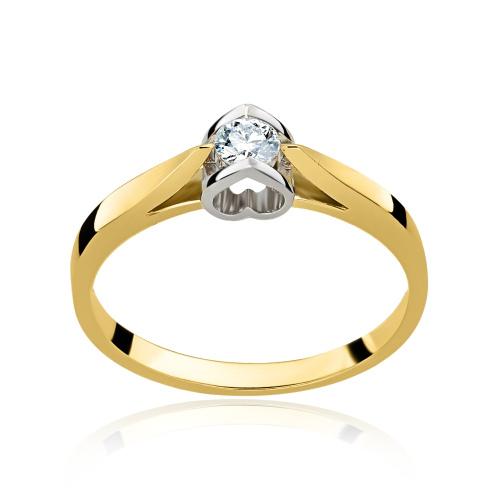 Pierścionek zaręczynowy z diamentem 0,15ct pr.585