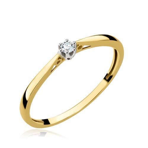Pierścionek zaręczynowy z diamentem 0,05ct pr.585