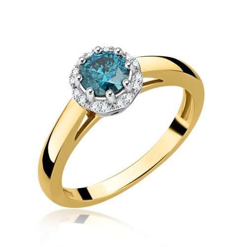 Pierścionek zaręczynowy z niebieskim brylantem i diamentami 0,66ct pr.585