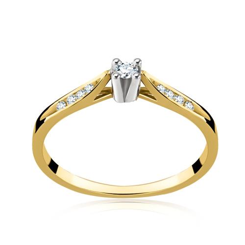 Pierścionek zaręczynowy z brylantami 0,09ct pr.585