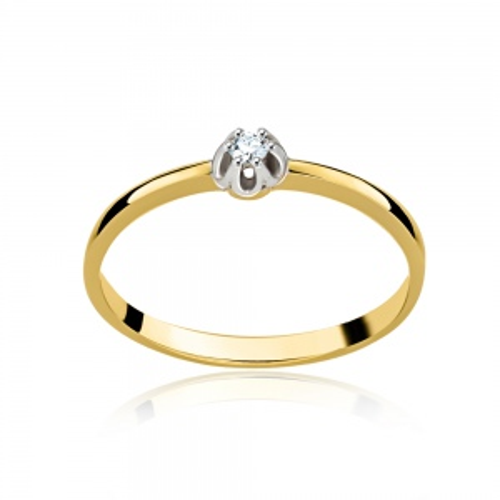 Pierścionek zaręczynowy z diamentem 0,035ct pr.585