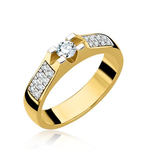 Pierścionek zaręczynowy z diamentami 0,32ct pr.585