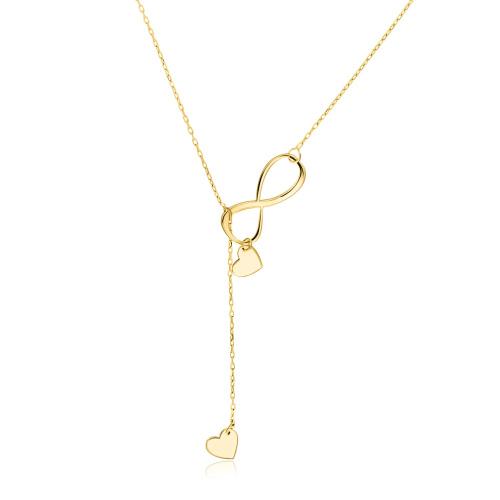 Złoty naszyjnik krawatka - Nieskończona miłość pr.585