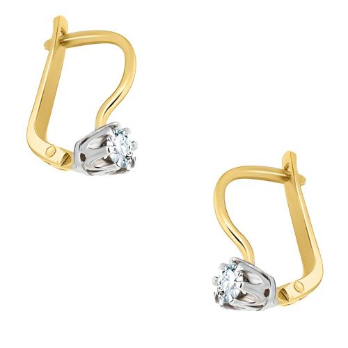 Złote kolczyki z diamentami 0,32ct pr.585