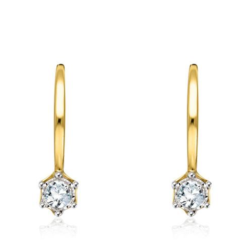 Złote kolczyki z diamentami 0,16ct pr.585
