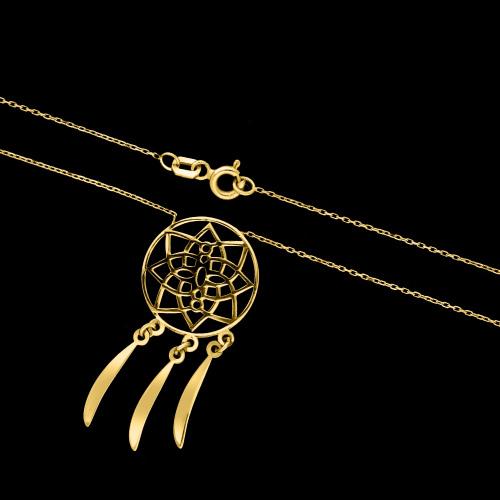 Złoty naszyjnik celebrytka - Łapacz Snów pr.585