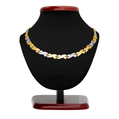 Złoty dwukolorowy naszyjnik pr.585