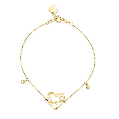 Złota bransoletka celebrytka - Serce pr.585