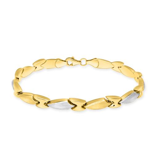 Złota dwukolorowa bransoletka 18cm pr.585