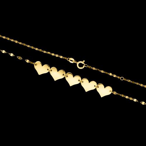 Złoty naszyjnik - Serca 45cm pr.333