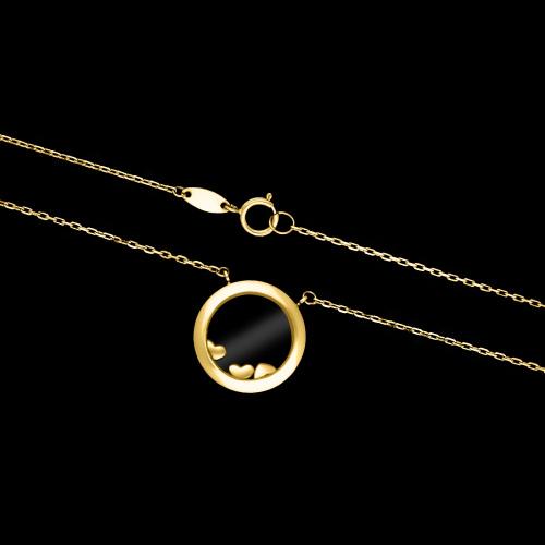 Złoty naszyjnik - Trzy Ruchome Serca w Kółku pr.585