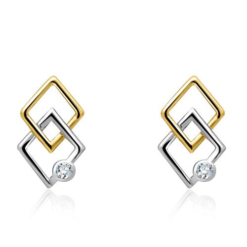 Złote kolczyki z cyrkoniami - Połączone Latawce pr.585