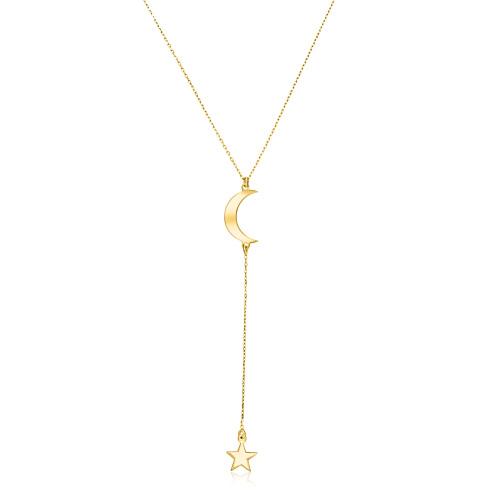 Złoty naszyjnik krawatka - Księżyc z Gwiazdką pr.333