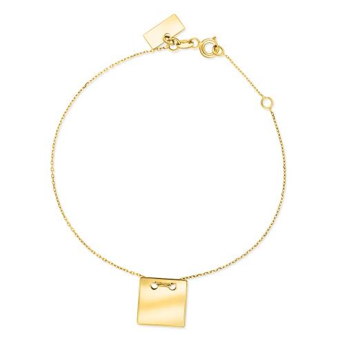 Złota bransoletka celebrytka - Kwadrat pr.585