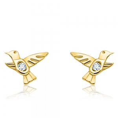 Złote kolczyki z cyrkoniami - Ptaki pr.585