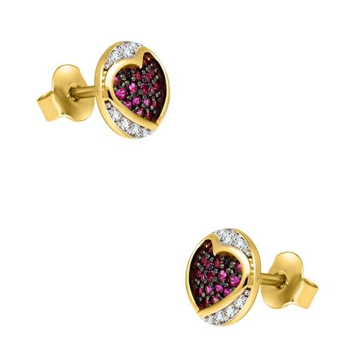 Złote kolczyki z cyrkoniami - Różowe Serce pr.585