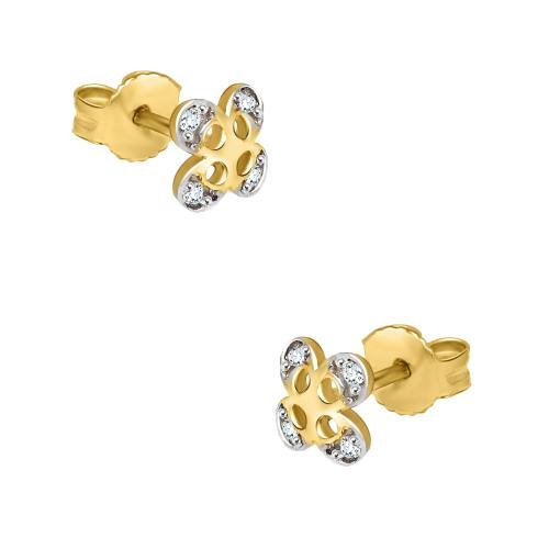 Złote kolczyki z cyrkoniami - Kwiatki pr.585