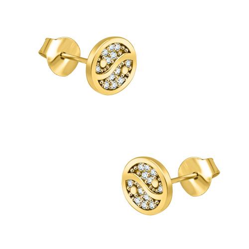 Złote kolczyki z cyrkoniami - Yin i Yang pr.585