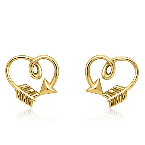 Złote kolczyki - Serce ze Strzały pr.585