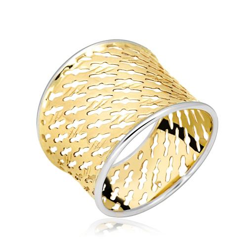 Złoty pierścionek - Szeroka Ażurowa Obrączka pr.333