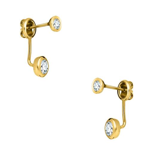 Złote kolczyki z cyrkoniami - Podwójne Oczko pr.585