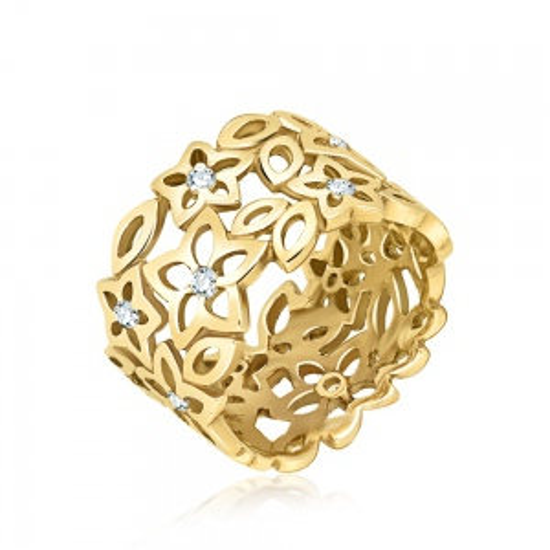 Złoty pierścionek z cyrkoniami - Ażurowe Kwiaty pr.333
