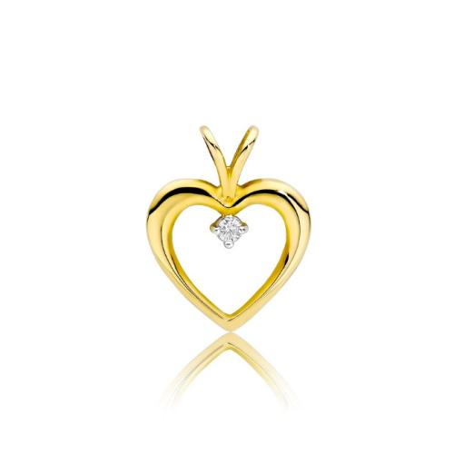 Złota zawieszka z brylantami 0,04ct - Serce pr.585