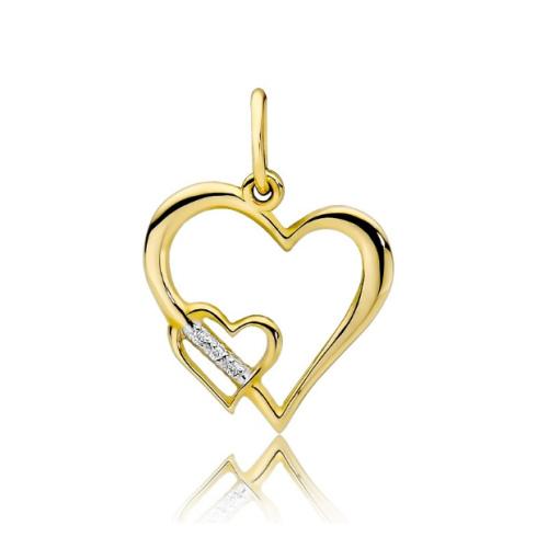 Złota zawieszka z brylantami 0,025ct - Podwójne Serce pr.585