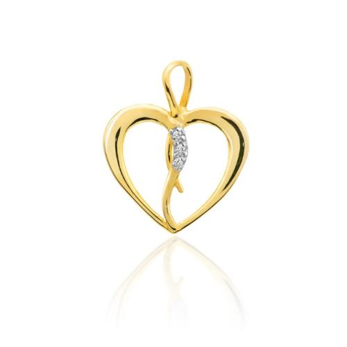 Złota zawieszka z brylantami 0,025ct - Serce pr.585