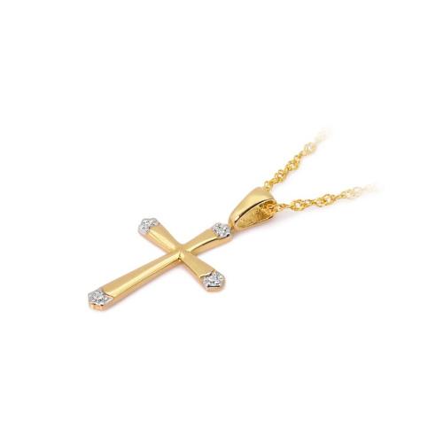 Złota zawieszka z brylantami 0,025ct - Krzyżyk pr.585