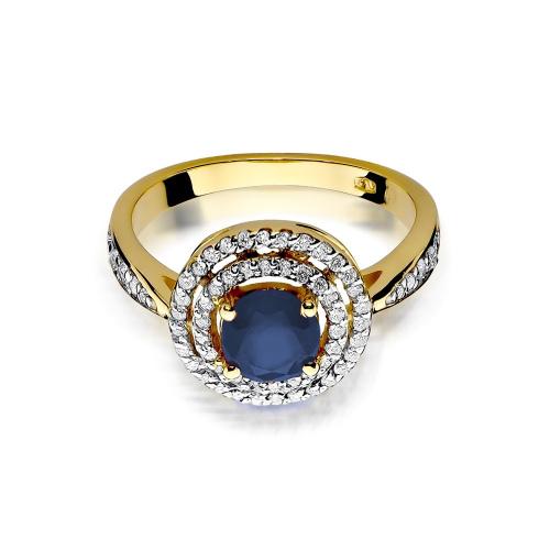 Pierścionek zaręczynowy z szafirem 1,00ct i brylantami pr.585