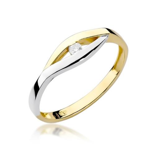 Pierścionek zaręczynowy z brylantem 0,04ct pr.585