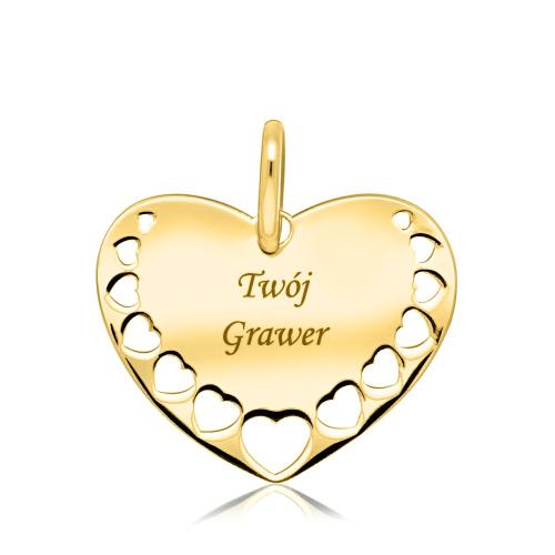 Złota zawieszka - Serce po grawer pr.585