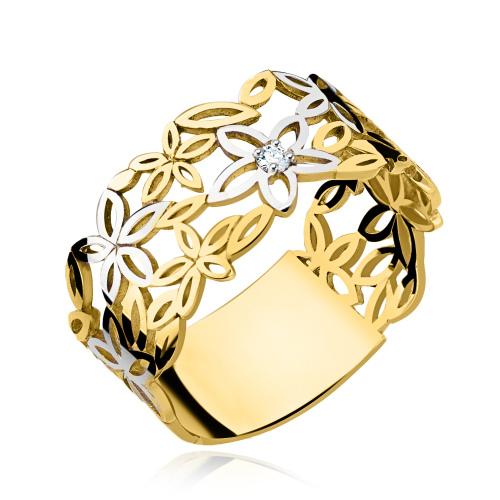 Złoty pierścionek - Kwiaty pr.333