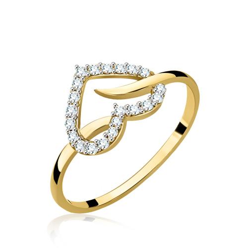 Złoty pierścionek z cyrkoniami - Serce pr.333