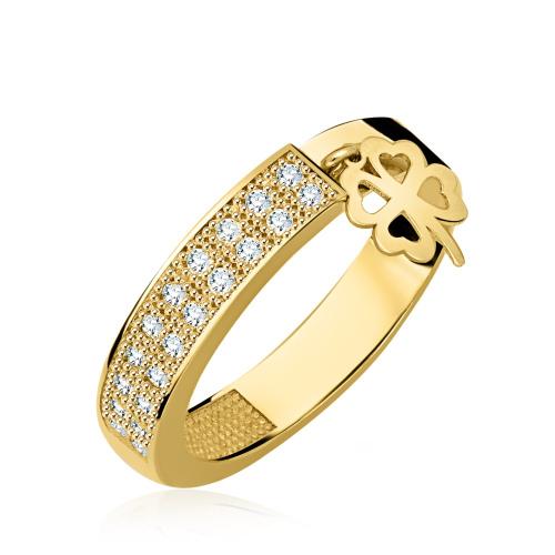 Złoty pierścionek z cyrkoniami - Koniczyna pr.333