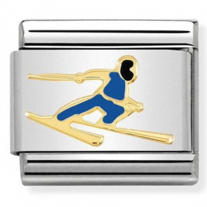 Nomination - Link 18K Gold 'Colourful Skier' 030259/16