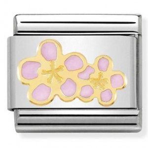 Nomination - Link 18K Gold 'Pink Peach Flower' 030278/16