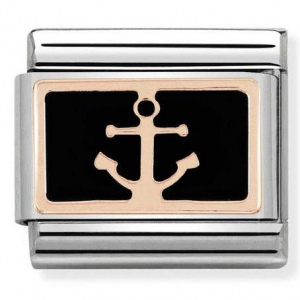 Nomination - Link 9K Rose Gold 'Anchor On Black' 430201/18