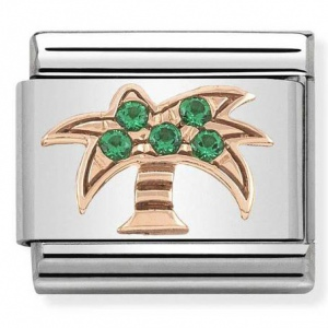 Nomination - Link 9K Rose Gold 'Palm Tree With Green Stones' 430302/28