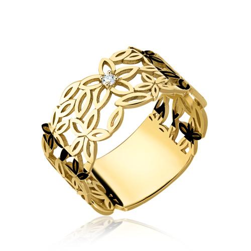 Złoty pierścionek z cyrkonią- Kwiaty pr.585