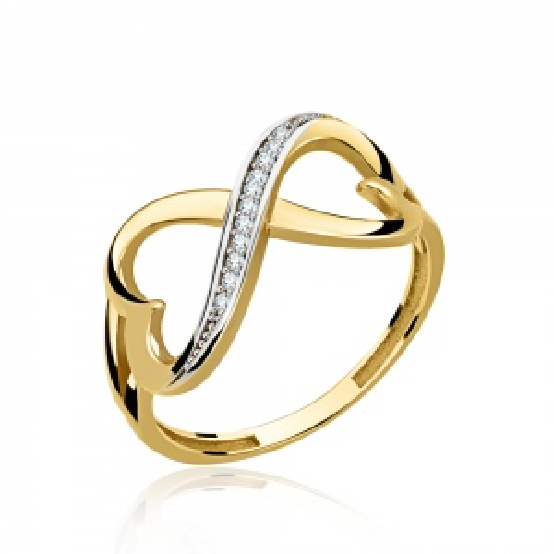 Złoty pierścionek z cyrkoniami - Splecione Serca pr.585
