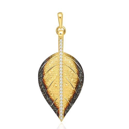 Złota zawieszka z cyrkoniami - Liść pr.585