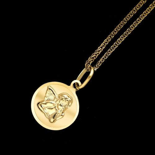 Złota zawieszka - Medalik z Aniołkiem pr.333
