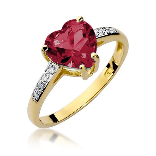 Pierścionek zaręczynowy 585 złoto z rubinem 0,04ct