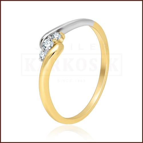 Pierścionek zaręczynowy z brylantami 0,14ct pr.585