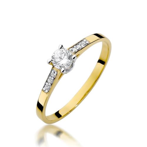 Pierścionek zaręczynowy 585 złoto z brylantami 0,21ct