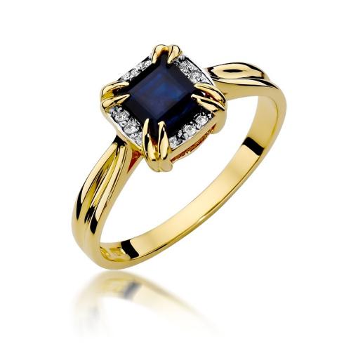 Pierścionek zaręczynowy 585 złoto z szafirem 1,70ct i brylantami