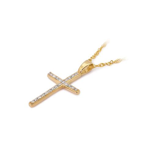 Złota zawieszka z brylantami 0,05ct - Krzyżyk pr.585